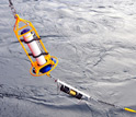 Photo of a biogeochemical mooring that monitors ocean acidification.
