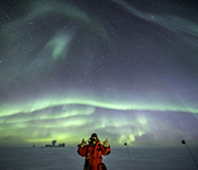 Robert Schwarz gives a thumbs up at the South Pole