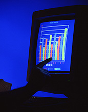 Pictoral representation of data (a graph) represented on a lighted computer screen.