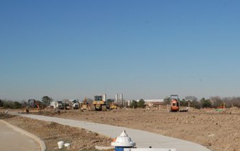 A construction site in early stages of development.