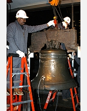 Riggers carefully position tackle that will be used to hoist the Liberty Bell.