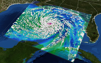 Hurricane Ike visualization created by Texas Advanced Computing Center supercomputer Ranger.