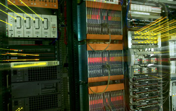 Photo of the rear of a computer network server.