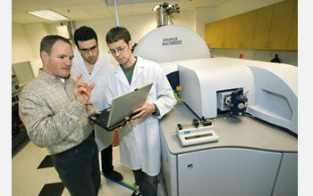 Photo of JBEI Director Jay Keasling with Francesco Pingitore and Chris Petzold at the FT-ICR-MS.
