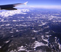 Boulder Creek and the Rocky Mountains seen from the airplane.