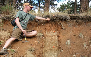 Scientist Ken Nelson collecting soils beneath trees at the Boulder Creek CZO.