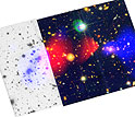 Image of colliding galaxies with luminous gas in one location and dark matter in another
