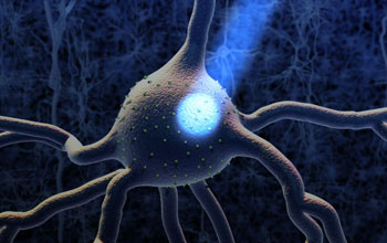 Graphic illustration showing a beam of light hitting a neuron