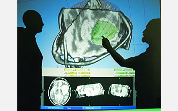 Photo of 2 people and a 3-D tessellated image of a brain projected on a large monitor.