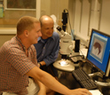Photo of Harald Parzer and Armin Moczek in the laboratory at Indiana University.