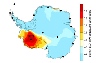 A graphic showing the relative Antarctic  warming