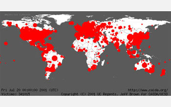 World map showing the spread of the Code Red worm in 2001