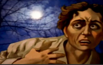 Illustration of a fearful looking man under a full moon