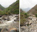Collage of two photos showing a river flowing before a dam and the old river bed dry after the dam.