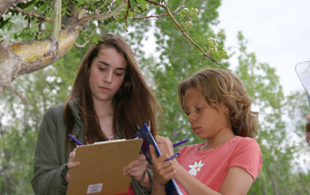 Photo of two students recording observations for Project BudBurst.