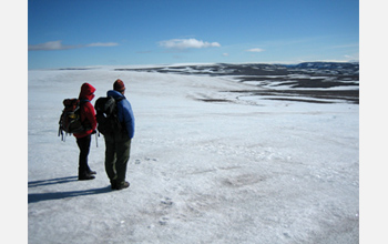Photo of a research team traversing the ice cap on Baffin Island in the Canadian Arctic.