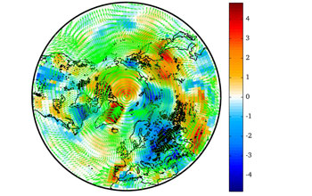 Graphic simulation of surface temperature changes due to aerosols from Northern Hemisphere fires.