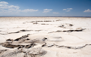Photo of a dry lake bed.