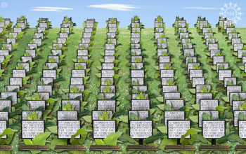 An artist's rendition of a server farm, showing rows of computers planted like crops.