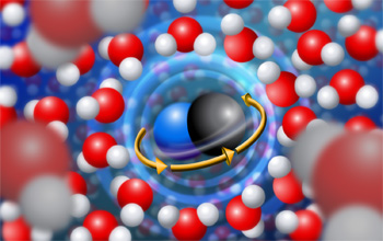 Each rotating cyanide molecule throws back the surrounding water molecules.