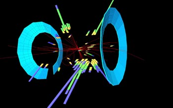 Image of the collision of a proton and antiproton.