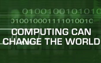 Illsutration containing the text Computing can change the world
