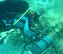 Diver deploying a metal pH sensor near coral reef