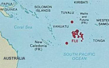 Map of Fiji islands.