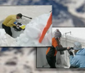 Screenshot of video depicting researchers examining snow samples.