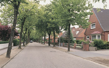 Photo of a suburban street in Marne, Germany.
