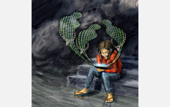 Image of seated child with three cyberbullies each with belt lock rising from her laptop.