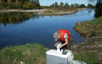 Photo of Carly Strasser collecting copepods in an estuary in the Pacific Northwest.