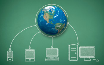 Graphic illustration showing the Earth globe connected to multiple electronic devices.