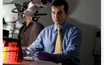 Photo of bioengineer Rafael Davalos in his laboratory at Virginia Tech.