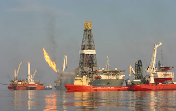 Image of vessels and platforms responding to the Deepwater Horizon spill in 2010.