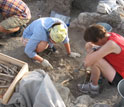 Photo of the team excavating a Byzantine grave at Chersonesos.