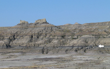 Rock strata in northeastern Montana.