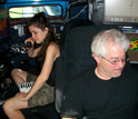 Photo of scientists Karen Kosiba and Josh Wurman tracking severe storms in the DOW truck.