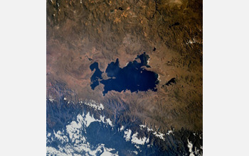 Image of Lake Titicaca from space.