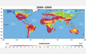 Map of Earth showing drought in the year 2069.