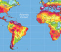 Map showing expansion of dryland on Earth by 2039.