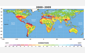 Map of Earth showing worldwide drought in 2009.