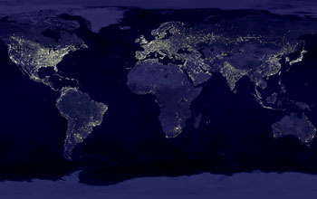 Image of nighttime lights visible on earth from outer space.