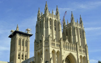 Photo of the damaged Washington National Cathedral's spires from the August, 2011 earthquake.