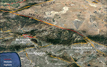 the greater Los Angeles area lies near the San Andreas Fault