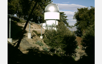 Photo of a telescope scene, part of the CHARA array on Mount Wilson, California, November 2009.