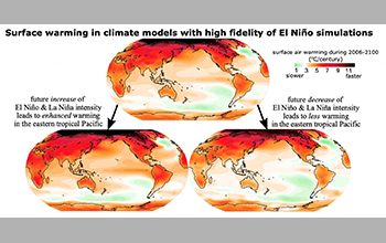 enhance warming in the eastern tropical Pacific (left) and less warming in the eastern tropical Pacific (right)