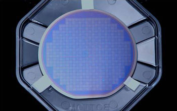 Photo of photonic crystal structures for LEDs created with wafer-scale nanopatterning.
