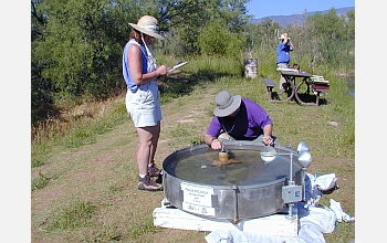 Students measure evaporation rates in Patagonia, Arizona.