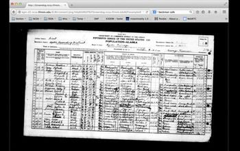 screenshot of brown dog search engine showing a scanned image of 1929 census data